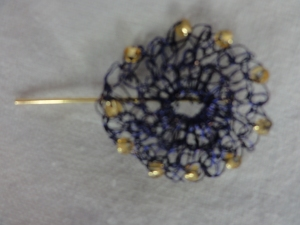 Wire, beaded crocheted flower hair pin.
