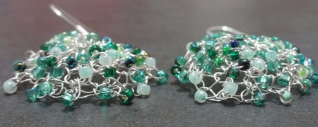 Aqua earrings side view