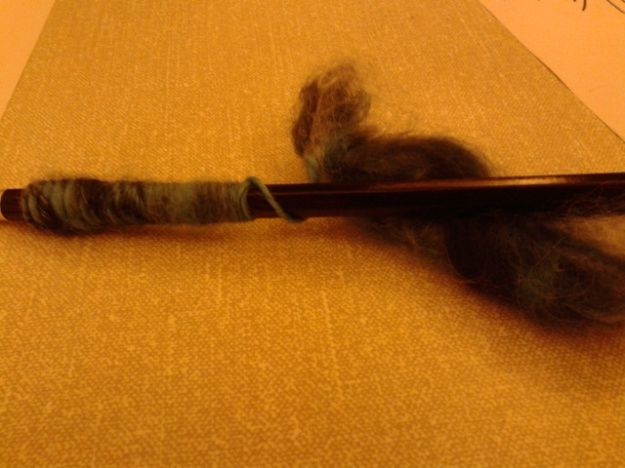 spinning wool with a pencil