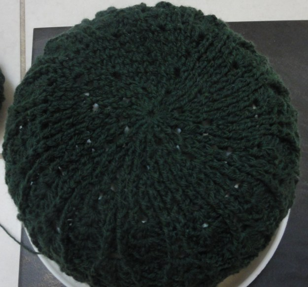 To help give you an idea of the finished hat I put it over a bowl. This is the view from the top!