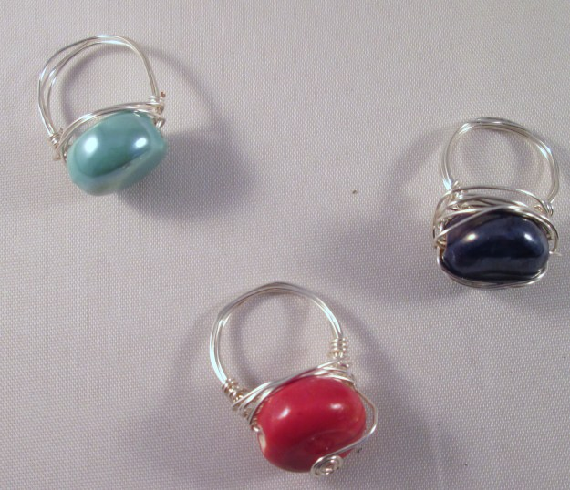 Simple wire wrapped rings.