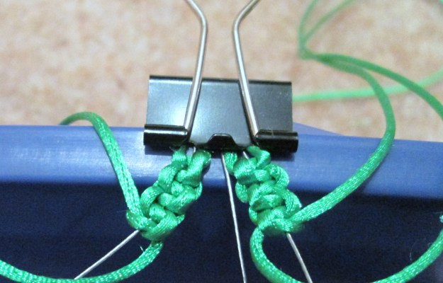 6 square knots on the right hand beading thread.