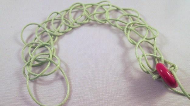 A macrame bracelet.